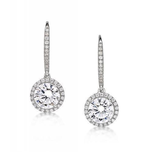 Sterling Silver Round Brilliant Cut Chandelier Earrings in Sterling Silver