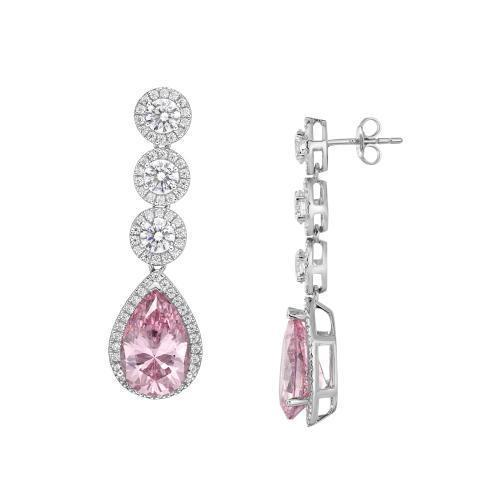 Sterling Silver Round Brilliant Chandelier Earrings with Pear Drop - Pink Diamond Simulant in Sterling Silver