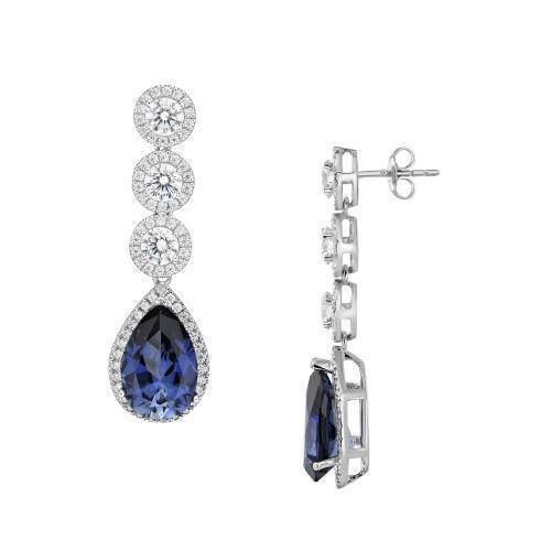 Sterling Silver Round Brilliant Chandelier Earrings with Pear Drop - Tanzanite Colour in Sterling Silver