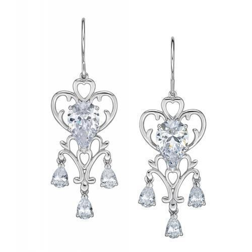 Sterling Silver Pear Cut Chandelier Earrings in Sterling Silver