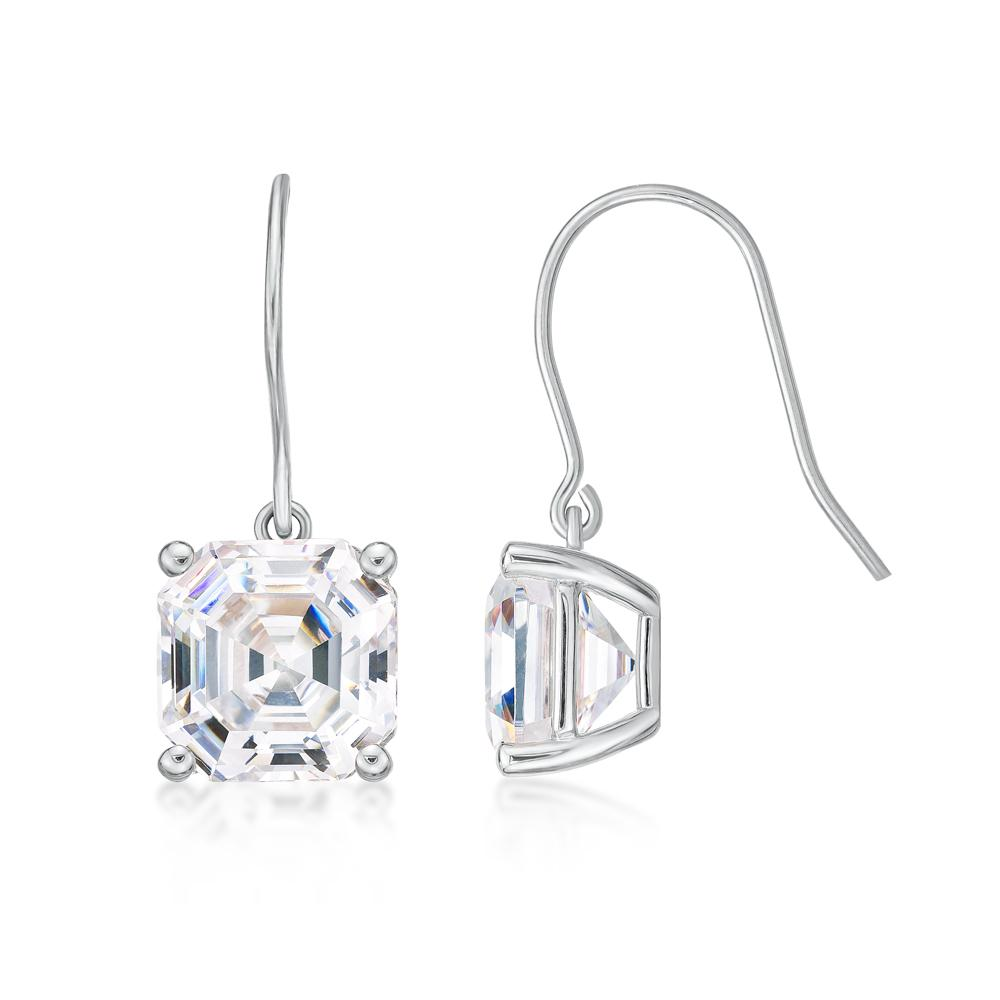 Asscher Cut Shepherd Hook Drop Earrings in White Gold