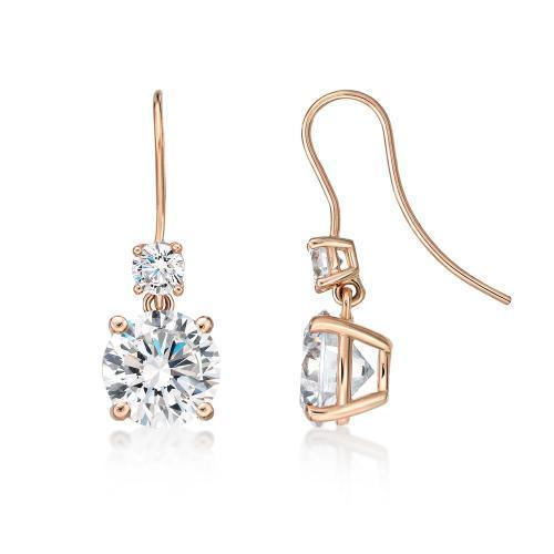 Double Round Brilliant Cut Shepherd Hook Drop Earrings in Rose Gold