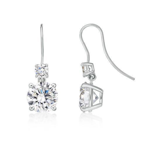 Double Round Brilliant Cut Shepherd Hook Drop Earrings in White Gold