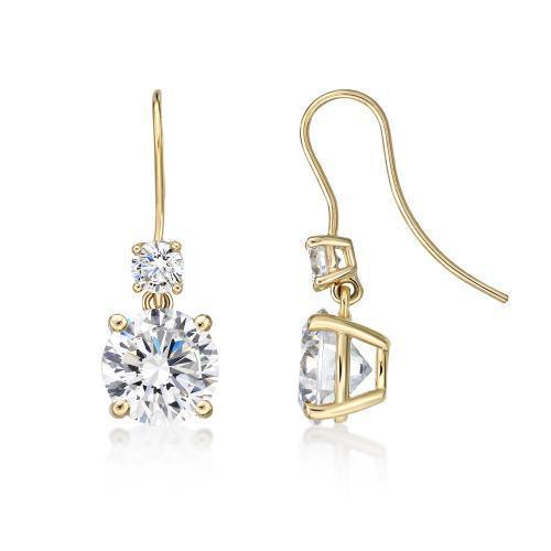 Double Round Brilliant Cut Shepherd Hook Drop Earrings in Yellow Gold