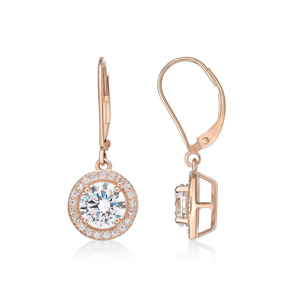 Round Brilliant Cut Halo Lever Back Drop Earrings in Rose Gold