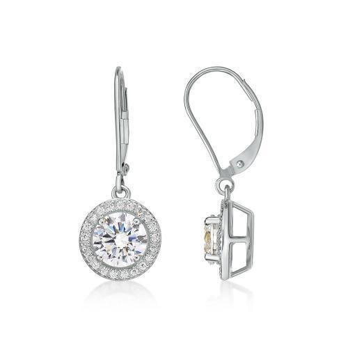 Round Brilliant Cut Halo Lever Back Drop Earrings in White Gold