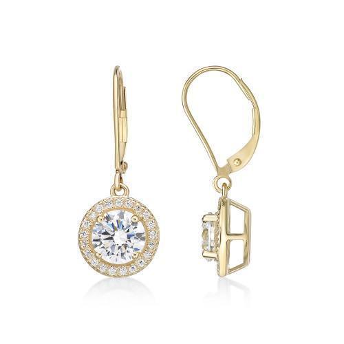 Round Brilliant Cut Halo Lever Back Drop Earrings in Yellow Gold