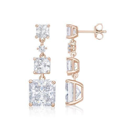 Princess Cut Trilogy Stud Drop Earrings in Rose Gold