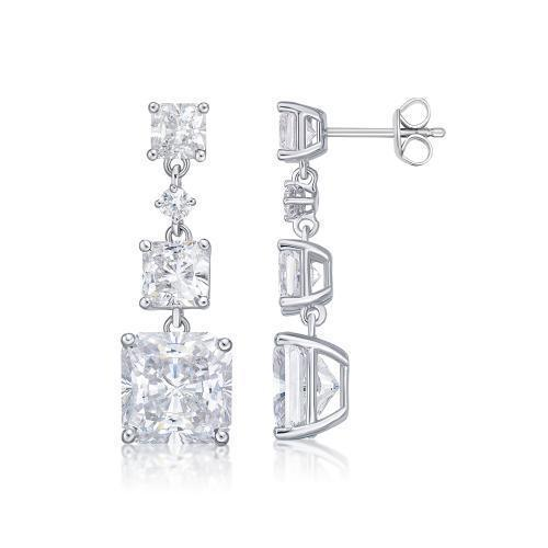 Princess Cut Trilogy Stud Drop Earrings in White Gold