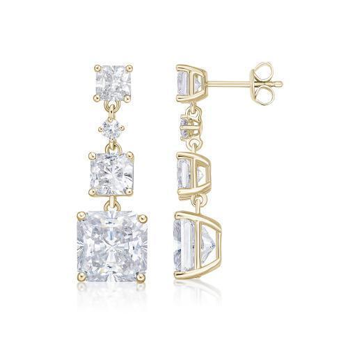Princess Cut Trilogy Stud Drop Earrings in Yellow Gold