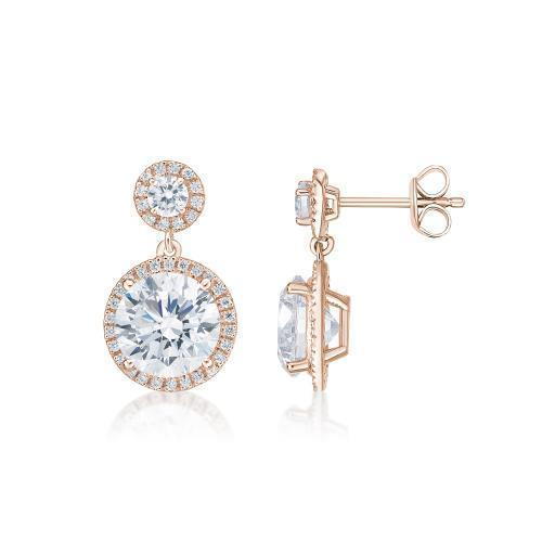 Round Brilliant Cut Halo Drop Earrings in Rose Gold