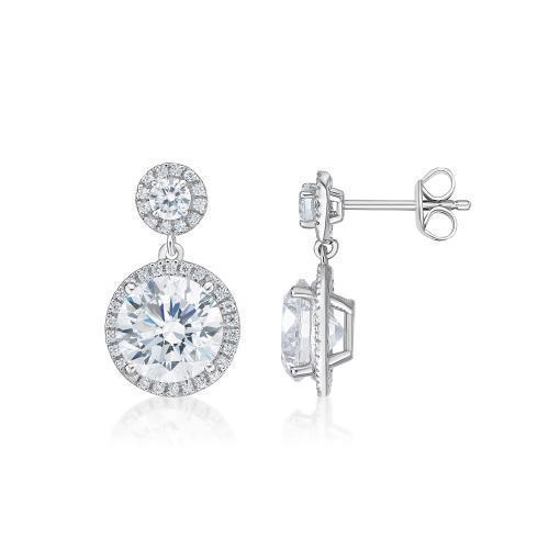 Round Brilliant Cut Halo Drop Earrings in White Gold