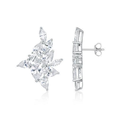 Marquise and Pear Cut Earrings in White Gold