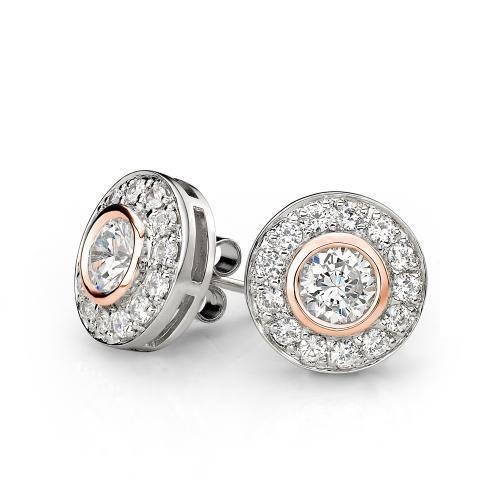 Synergy Sterling Silver and Rose Gold Circle Stud Earrings in Sterling Silver w/ Rose Gold