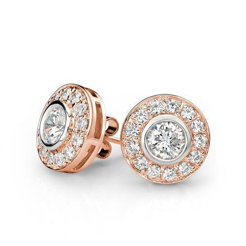 Contemporary Bezel Set Stud Earrings in Rose Gold w/ White Gold Setting