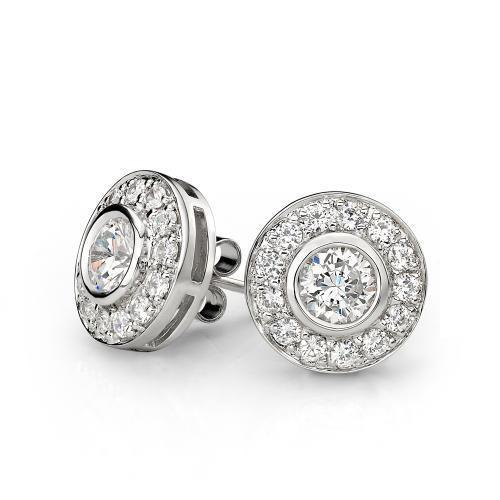 Contemporary Bezel Set Stud Earrings in White Gold