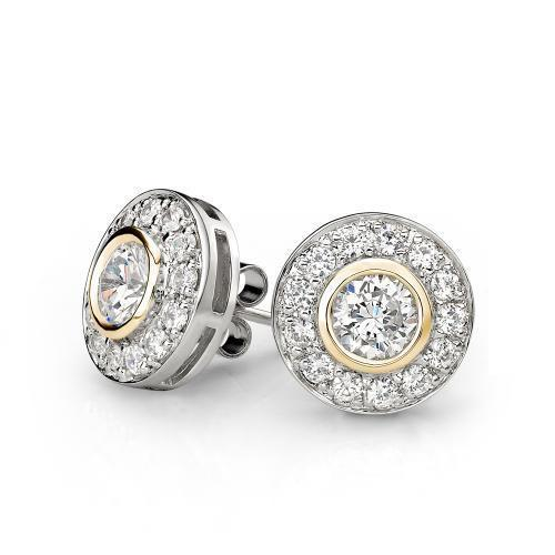 Synergy Sterling Silver and Yellow Gold Circle Stud Earrings in Sterling Silver w/ Yellow Gold