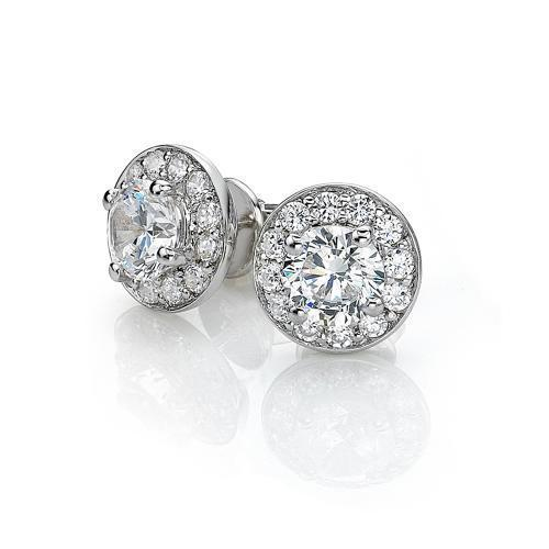 Round Brilliant Earrings in White Gold