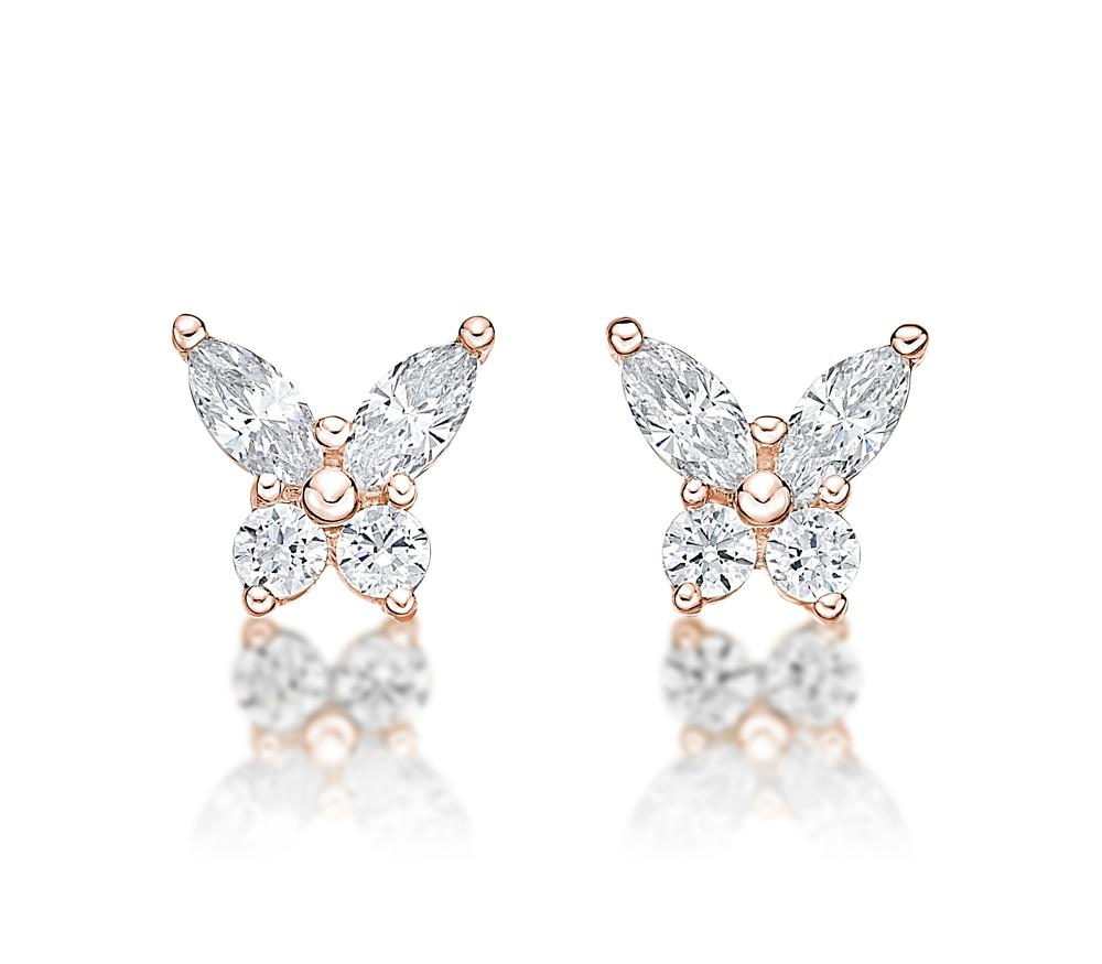 Butterfly Stud Earrings in Rose Gold