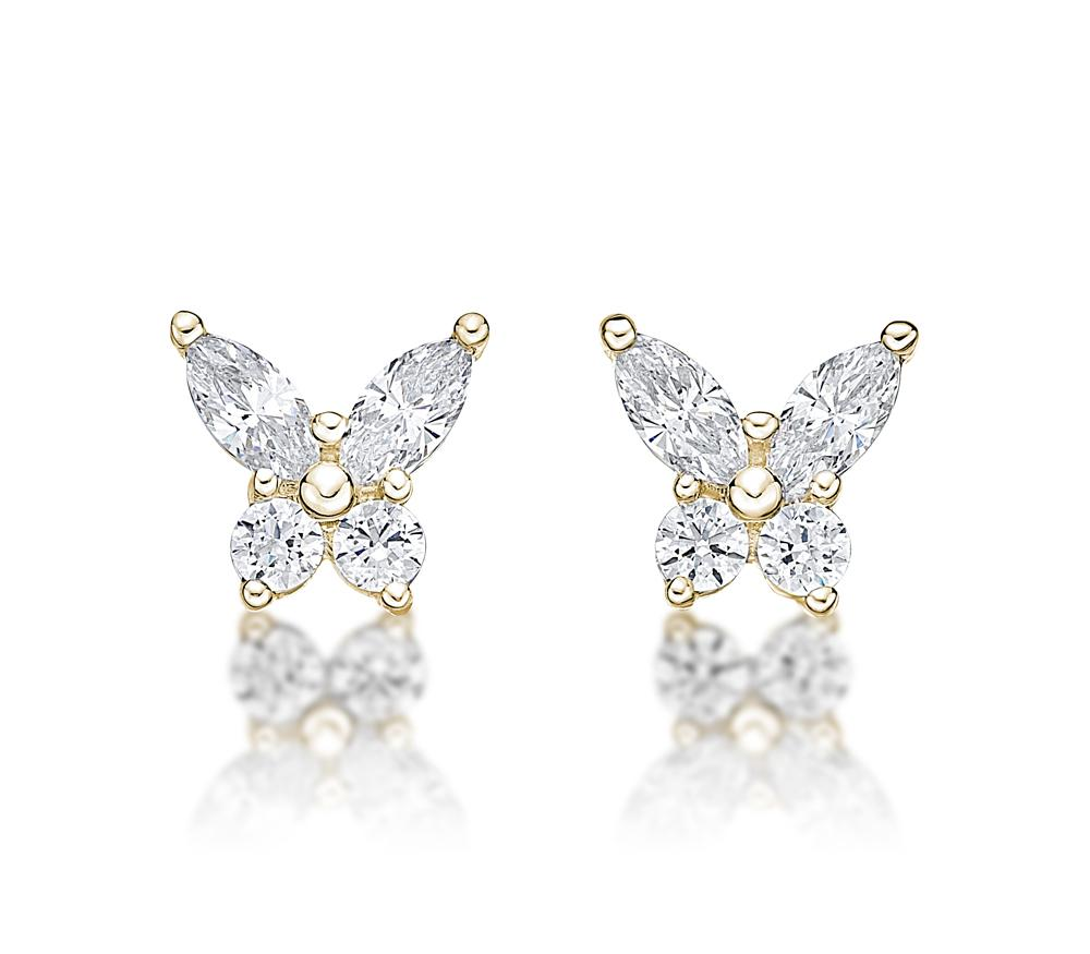 Butterfly Stud Earrings in Yellow Gold