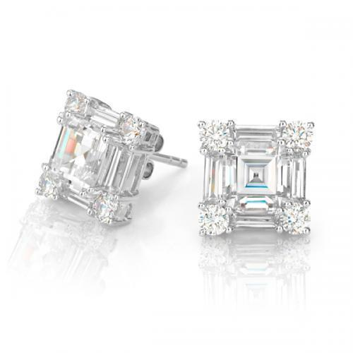 Step Cut Princess Cut Studs Large in White Gold