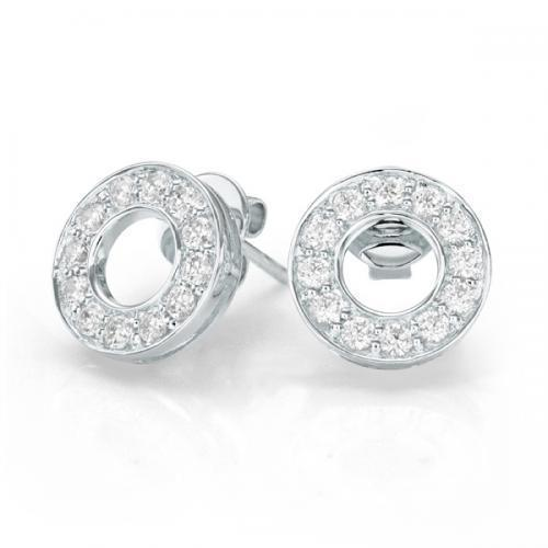 Circle of Life Stud Earrings in White Gold