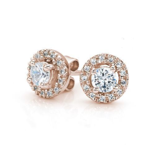 Small Round Brilliant Halo Stud Earrings in Rose Gold
