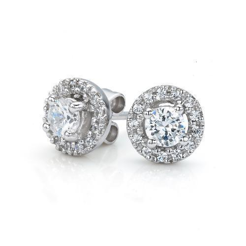 Small Round Brilliant Halo Stud Earrings in White Gold