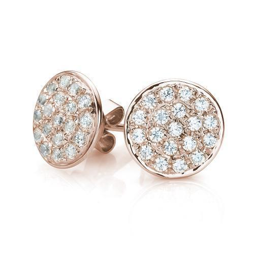 Micro Pave Stud Earrings in Rose Gold