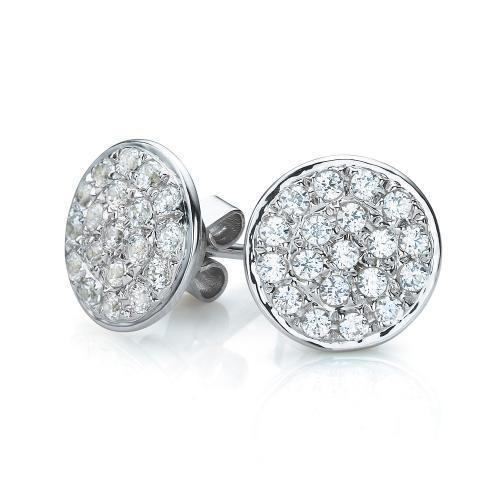 Micro Pave Stud Earrings in White Gold