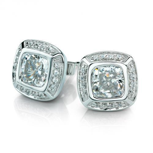 Cushion Cut and Round Brilliant Stud Earrings in White Gold