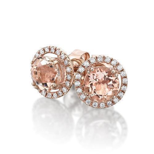 Round Brilliant Halo Claw Set Studs - Morganite Simulant in Rose Gold