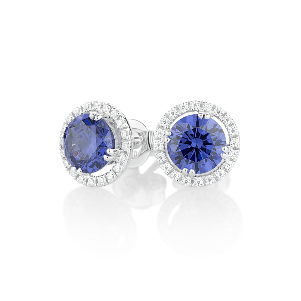 Round Brilliant Halo Claw Set Studs - Tanzanite Colour in White Gold