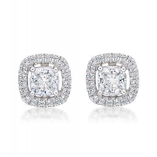 Small Cushion Cut Halo Earrings in White Gold