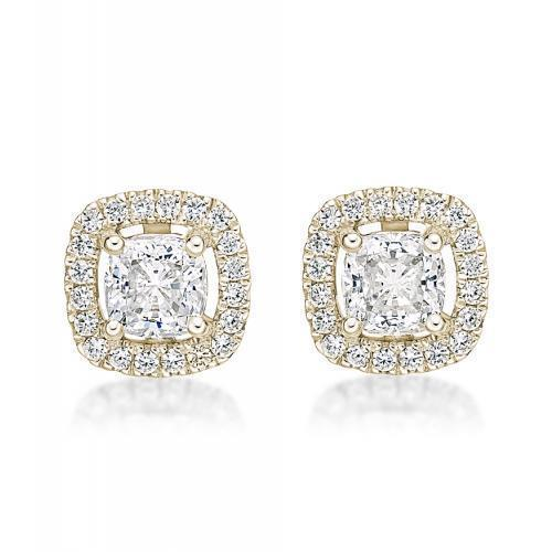 Small Cushion Cut Halo Earrings in Yellow Gold