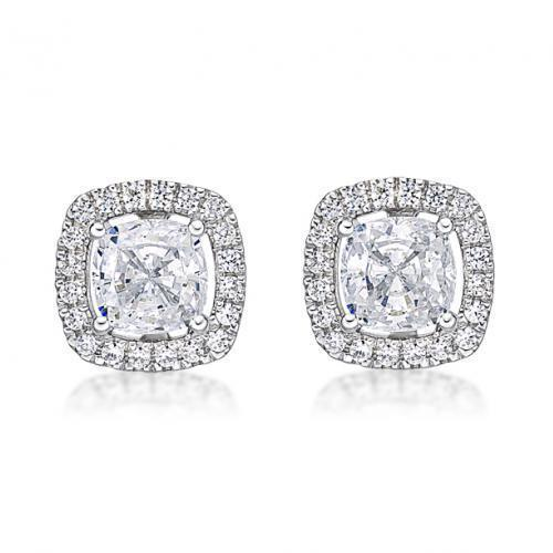 Large Cushion Cut Halo Earrings in White Gold