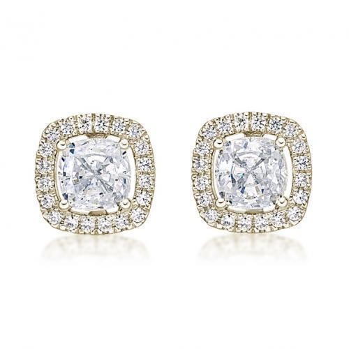 Large Cushion Cut Halo Earrings in Yellow Gold