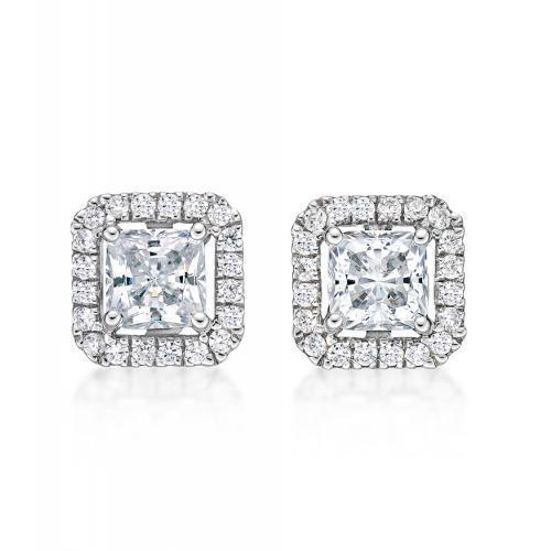 Small Princess Cut Halo Earrings in White Gold
