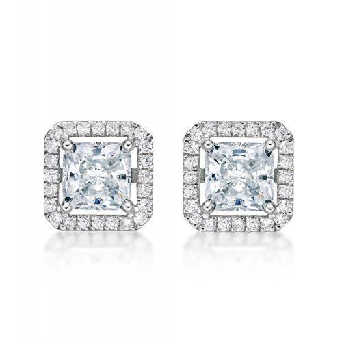 Large Princess Cut Halo Earrings in White Gold