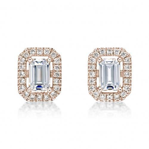 Small Emerald Cut Halo Earrings in Rose Gold