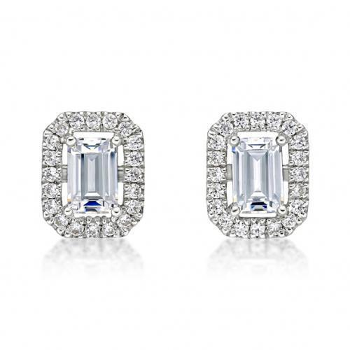 Small Emerald Cut Halo Earrings in White Gold