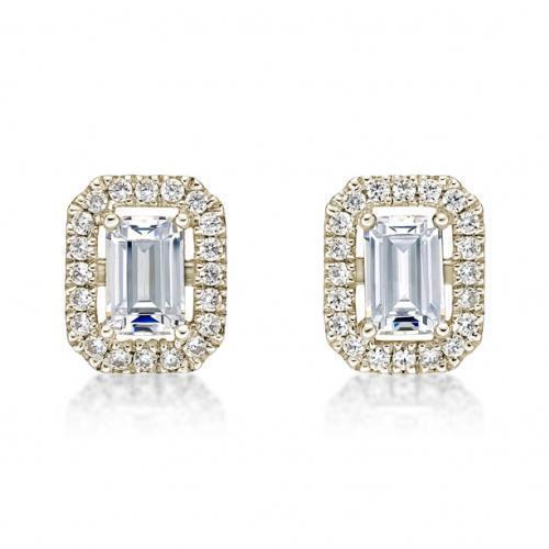 Small Emerald Cut Halo Earrings in Yellow Gold