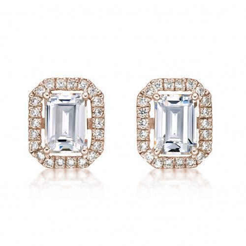 Large Emerald Cut Halo Earrings in Rose Gold