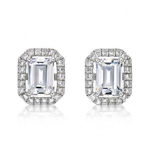 Large Emerald Cut Halo Earrings in White Gold