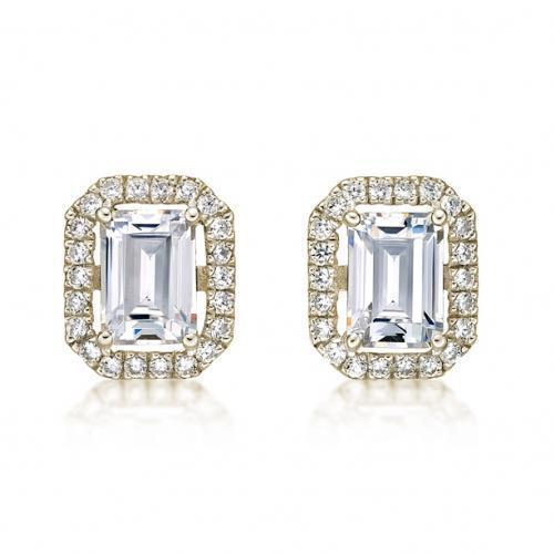 Large Emerald Cut Halo Earrings in Yellow Gold