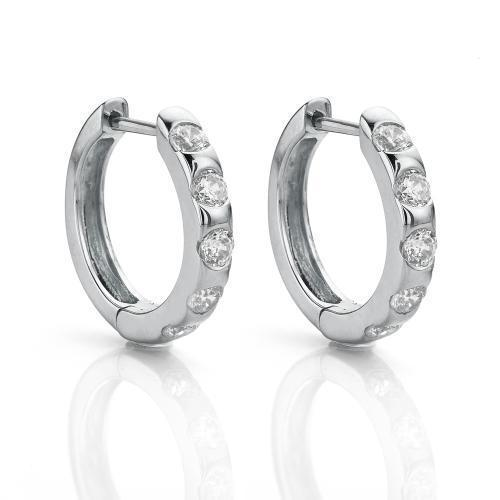 Hoop Earrings with Spaced Round Brilliant Stones in White Gold