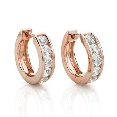 Round Brilliant Hoop Earrings in Rose Gold