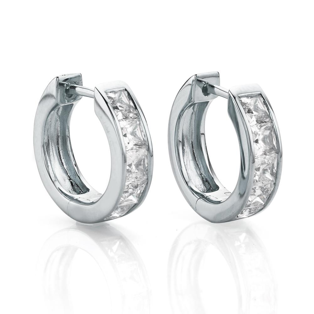 Channel Set Hoop Earrings in White Gold
