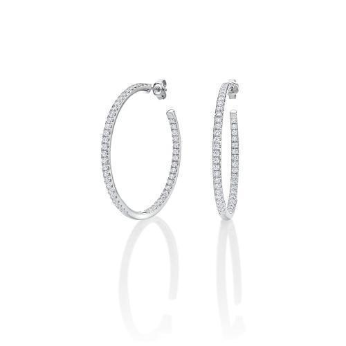 Large Round Open Hoops in White Gold