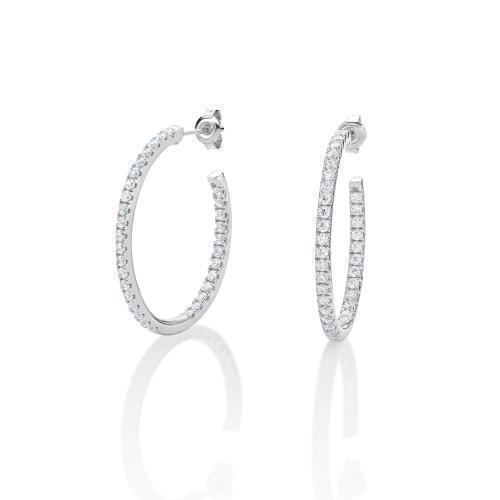 Medium Oval Open Hoops in White Gold